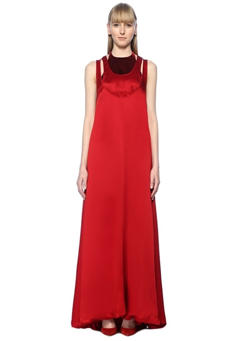 Valentino Garavani Kırmızı Maksi Saten Elbise