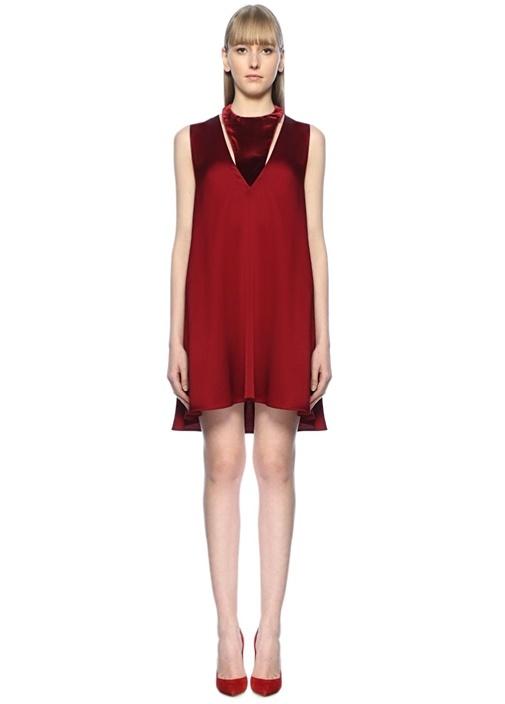 Kırmızı Desenli Mini Saten Elbise