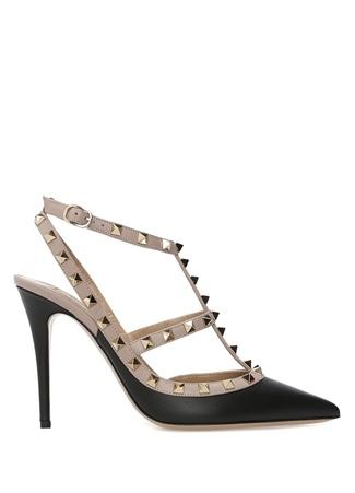 Siyah Bej Topuklu Ayakkabı