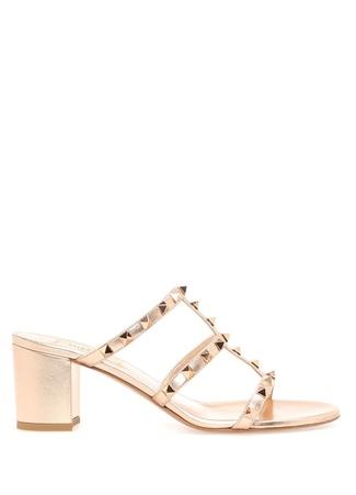 Kadın Rockstud Rose Gold Deri Topuklu Ayakkabı Pembe 40 EU