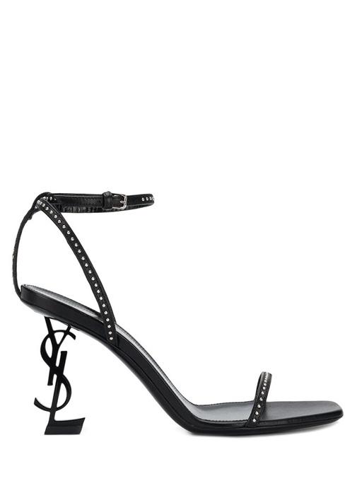 Saint Laurent Siyah KADIN  Siyah Troklu Topuk Detaylı Kadın Deri Sandalet 485761 Beymen