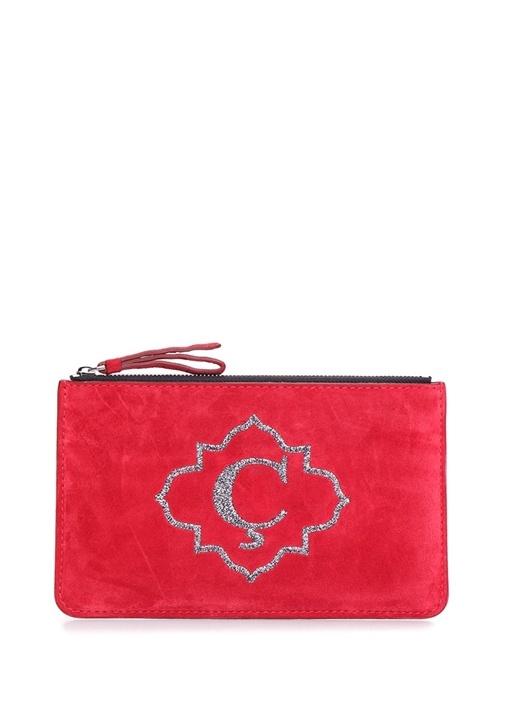 Kırmızı Harf Nakışlı Kadın Süet Çanta
