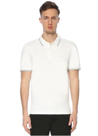 Erkek Polo Yaka T-shirt Beyaz L EU