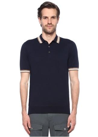Brunello Cucinelli Erkek Lacivert Polo yaka Şerit Detaylı -shirt 52 I (IALY) Ürün Resmi