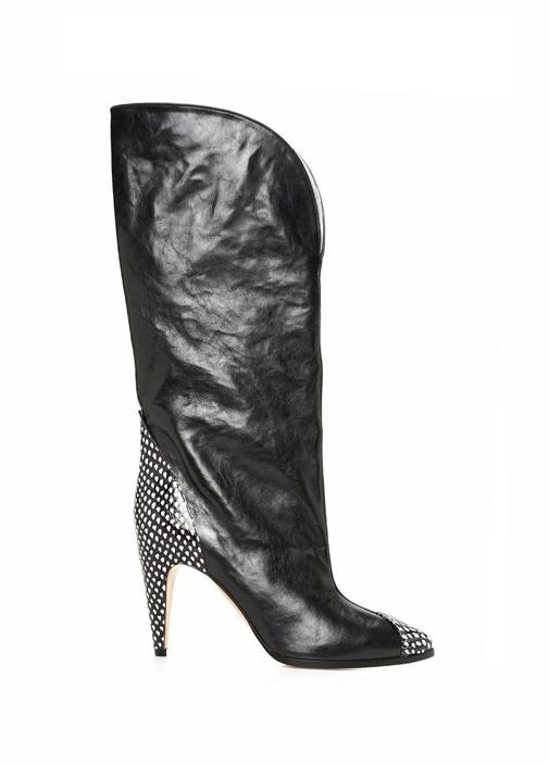 Givenchy Siyah-Beyaz KADIN  Siyah Topuk Detaylı Kadın Deri Çizme 496844 Beymen