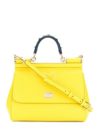 Dolce&Gabbana Kadın Sicily Sarı rok Detaylı Deri Çanta Ürün Resmi