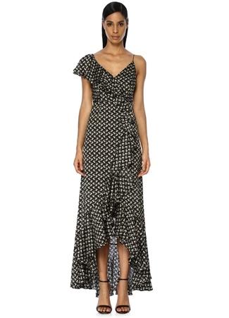 Jill Stuart Kadın Siyah Çiçekli Asimetrik Volanlı Maksi Saten Elbise 4 US