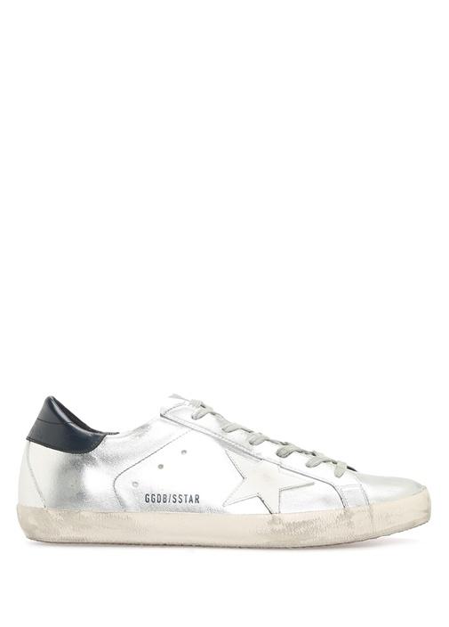 Golden Goose Gümüş KADIN  Superstar Gümüş Deri Kadın Sneaker 427608 Beymen