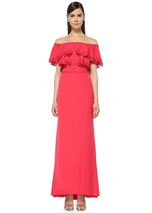 Karlie Kırmızı Omzu Açık Krep Elbise