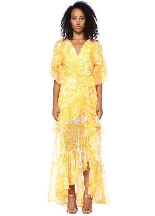 Sarı Çiçekli Fırfırlı Sırt Dekolteli Maksi Elbise