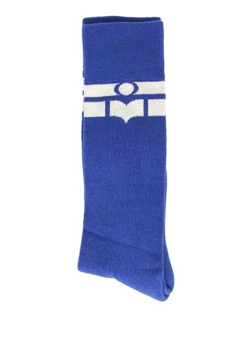 Mavi Şerit Logo Jakarlı Kadın Çorap
