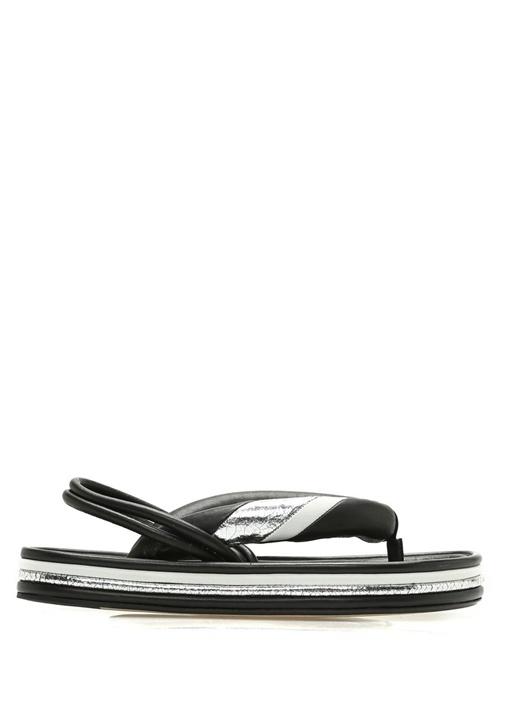 Etanee Siyah Gümüş Kadın Deri Sandalet