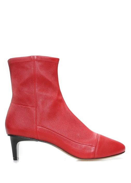 Daevel Sock Boots Kırmızı Deri Kadın Bot