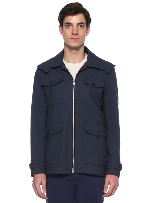 Lacivert Kapüşonlu Ceket