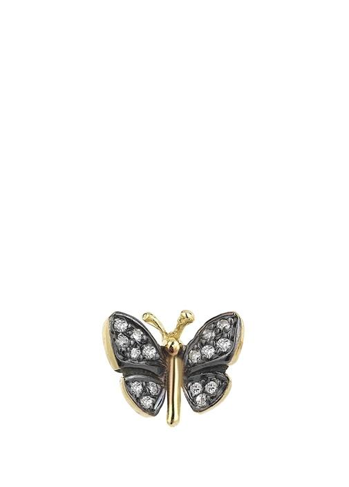 Siyah Kelebek Formlu İşlemeli Kadın Altın Küpe