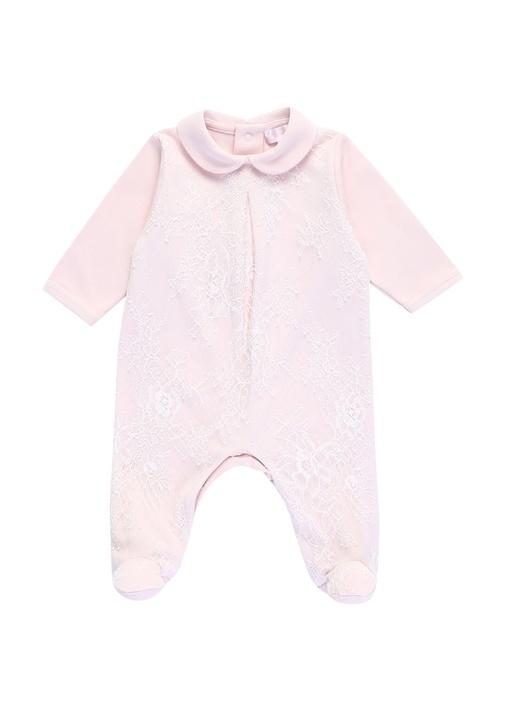 Pembe Bebe Yaka Dantelli Kız Bebek Tulum