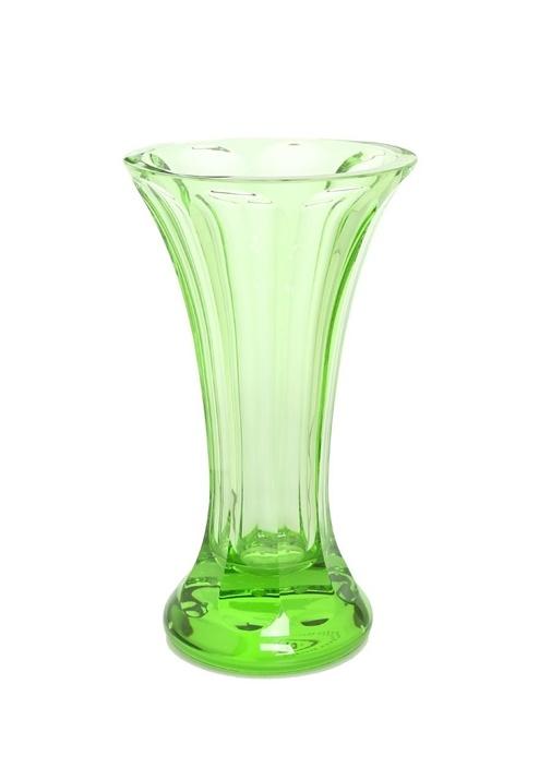 Yeşil Çizgi Dokulu Kristal Vazo