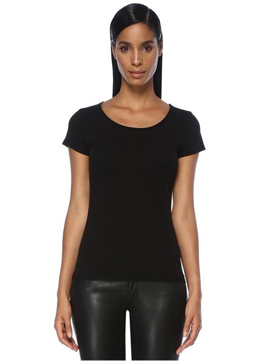 Vetten Siyah Bisiklet Yaka Basic T-shirt