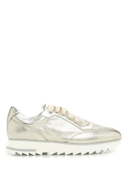 Gold Deri Kadın Sneaker