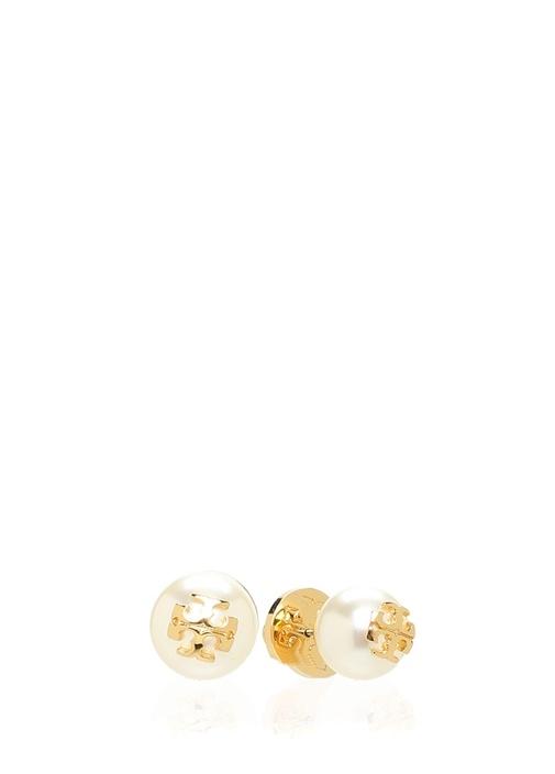 Beyaz Gold Logolu Kadın Küpe