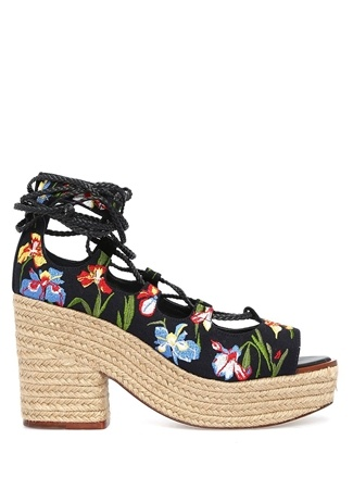 ory Burch Kadın Positano Lacivert Çiçek İşlemeli Sandalet 10 US Ürün Resmi