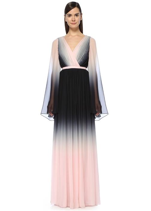 Pembe Siyah Maksi İpek Abiye Elbise
