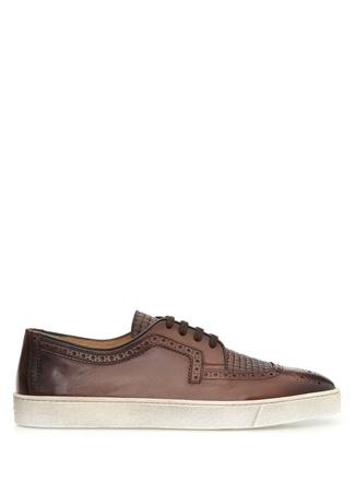 Kahverengi Delikli Deri Erkek Sneaker