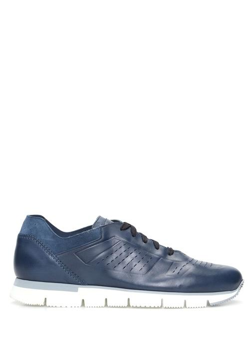Santoni Sport Lacivert ERKEK  Lacivert Delik detaylı Erkek Deri Sneaker 477812 Beymen