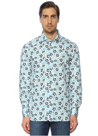 Kiton Erkek Çiçek Desenli Mavi Beyaz Gömlek 41 I (IALY)