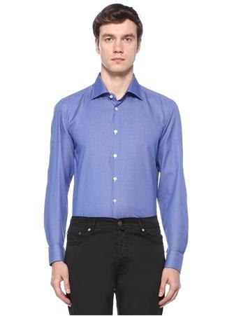 Kiton Erkek Mavi Mikro Desenli Gömlek 43 I (IALY) Ürün Resmi