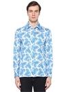 Beyaz Mavi Şal Desenli Gömlek
