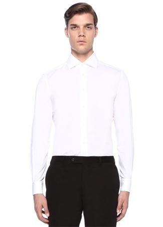 Beyaz İtalyan Yaka Düğme Kapatmalı Gömlek