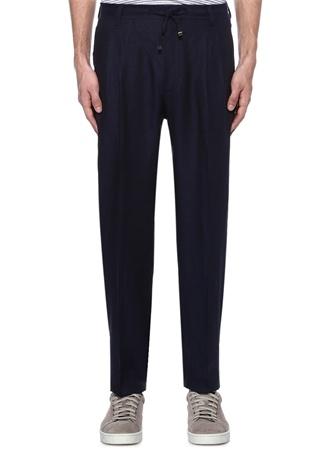 Corneliani Id Erkek Lacivert Pileli Keten Pantolon 54 I (IALY) Ürün Resmi