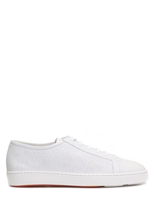 Santoni Sport Beyaz ERKEK  Beyaz Dokulu Erkek Deri Sneaker 367573 Beymen