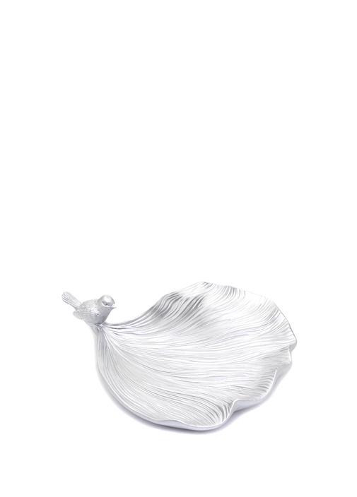 Silver Kuş Detaylı Yaprak Formlu Dekoratif Obje