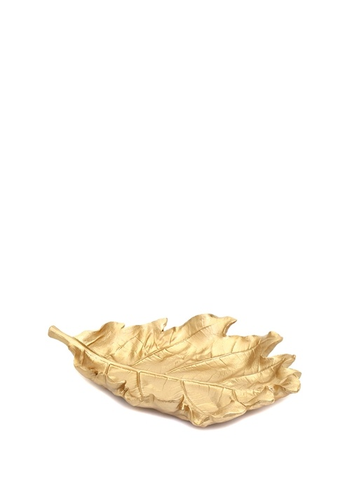 Gold Yaprak Formlu Ahşap Dekoratif Obje