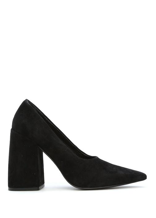 Siyah Kadın Süet Topuklu Ayakkabı
