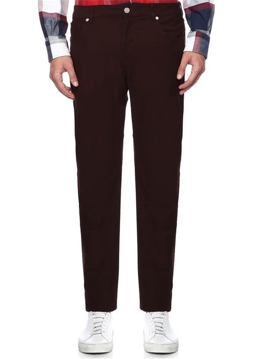 Bordo Dokulu 5 Cepli Slim Fit Pantolon