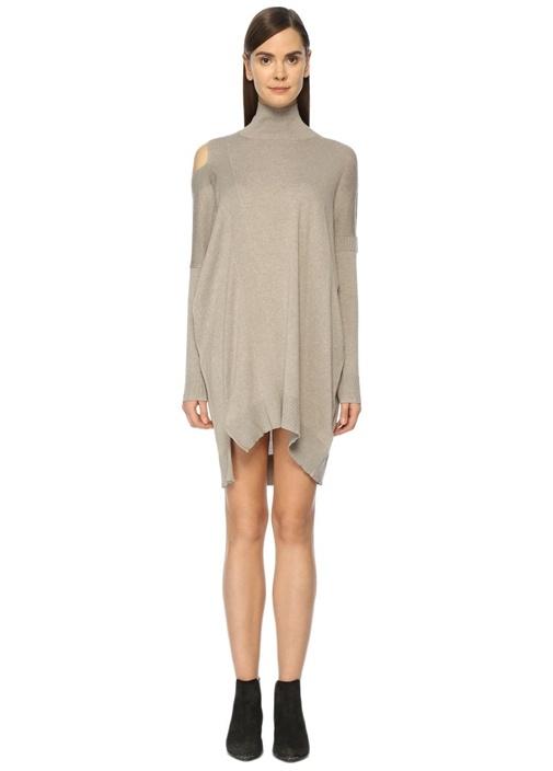 Cecily Bej Asimetrik Mini Elbise