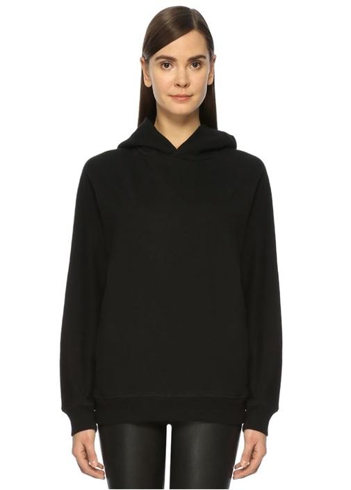Jen Siyah Kapüşonlu Sweatshirt