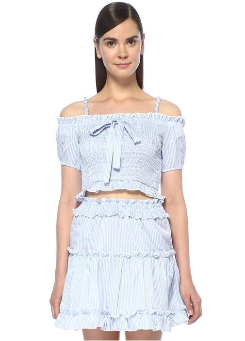 Mavi Beyaz Çizgili Omzu Açık Fırfırlı Crop Bluz