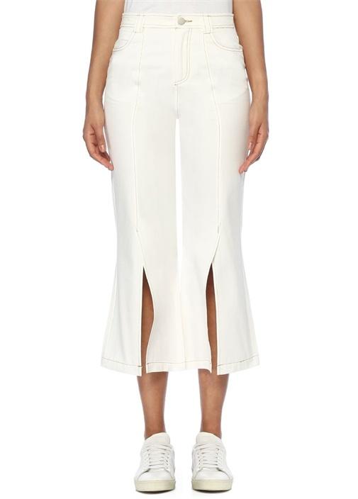 Beyaz Yüksek Bel Yırtmaçlı Bol Paça Crop Pantolon