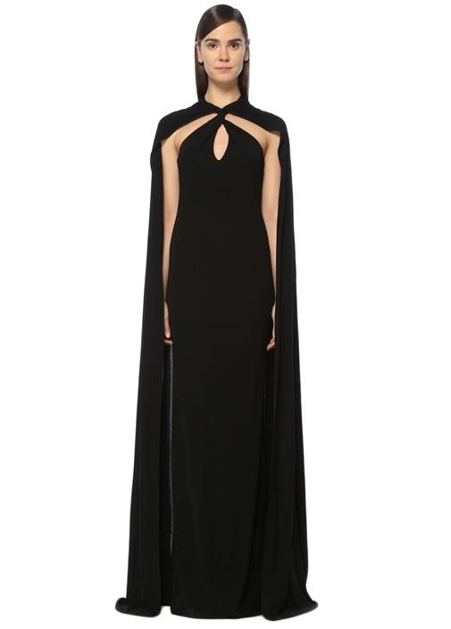 Siyah Pelerin Detaylı Maksi Elbise