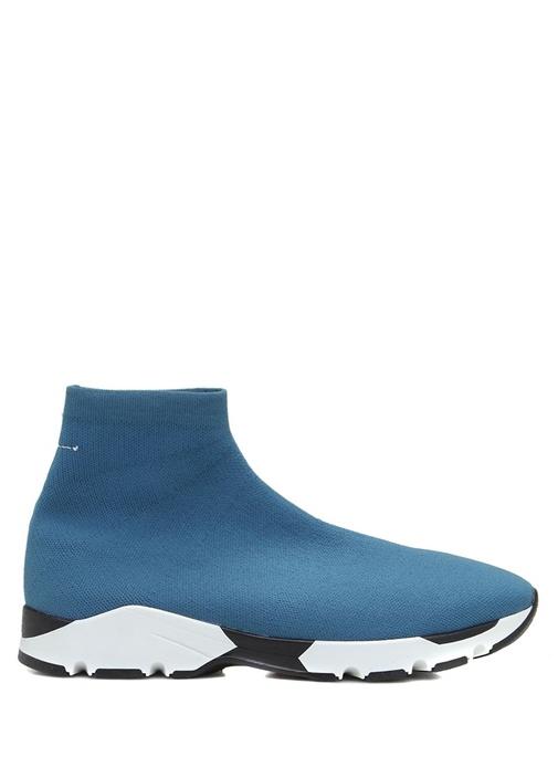 Mavi Taban Detaylı Çorap Formlu Kadın Sneaker