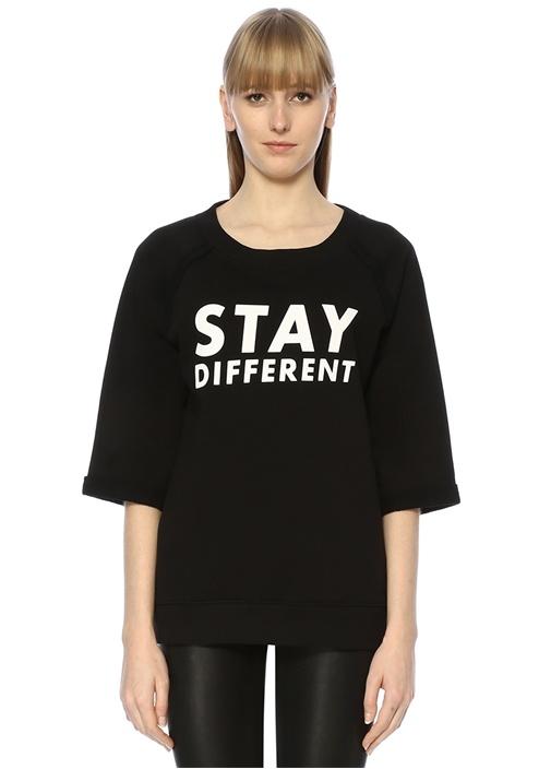 Siyah Baskılı Truvakar Kollu Sweatshirt
