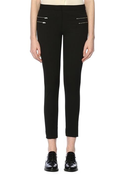 Siyah Fermuar Detaylı Dar Paça Pantolon