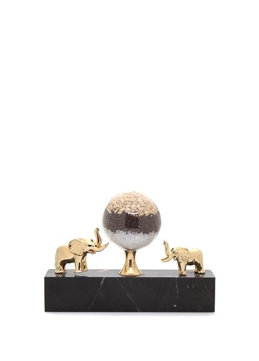 Siyah Gold Fil Figürlü Mermer Bereket Objesi