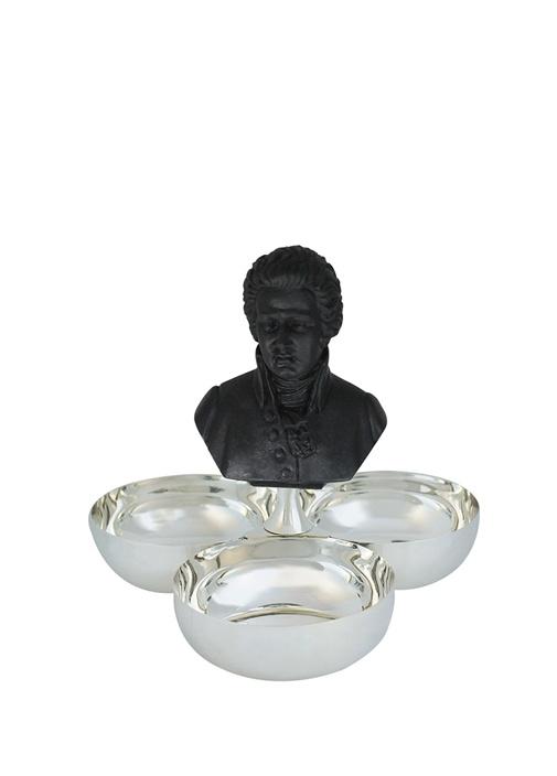 Mozart Büst Detaylı 3lü Gümüş Kaplama Çerezlik