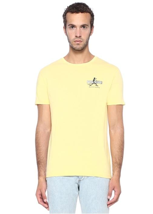 Slim Fit Loggins Sarı Baskılı Basic T-shirt