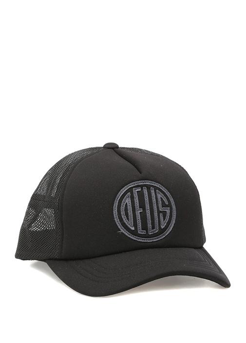 Siyah File Detaylı Logolu Erkek Şapka